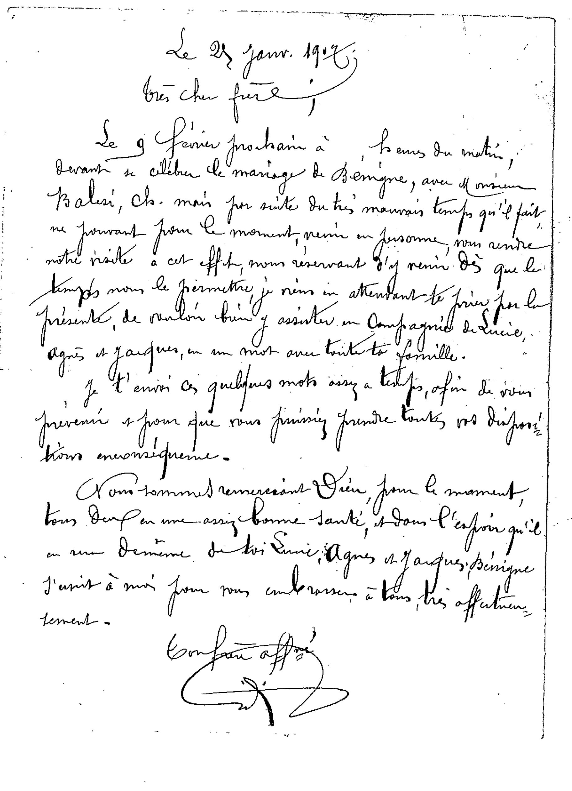 letter sent by his brother to vincent giorgi congratulating him about benignes marriage